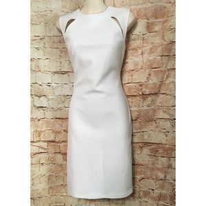 TOPSHOP White Bodycon Shift Dress w/ Cutouts, SZ 6